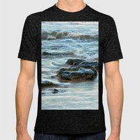 Abstract Waves and rocks in the Pacific Ocean Mens Fitted Tee Tri-Black SMALL