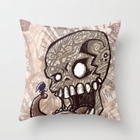 Little piece of my heart for the Giant skull Throw Pillow