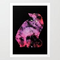 Celestial Cat - The British Shorthair & The Pelican Nebula Art Print