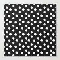 Brushy Dots Pattern - Dark grey Canvas Print