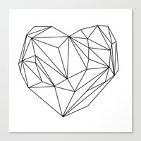Heart Graphic (black On … Canvas Print