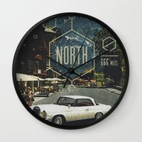 666 Miles North Wall Clock