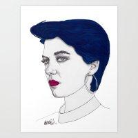 Girl with Blue Hair Art Print