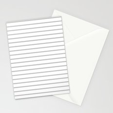 Horizontal Lines (Silver/White) Stationery Cards