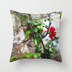 Wee Red Flowers Throw Pillow