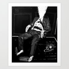 Monster in an office chair with exploded head. 2008. Art Print