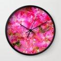 Bright And Cheery Geranium Abstract Wall Clock