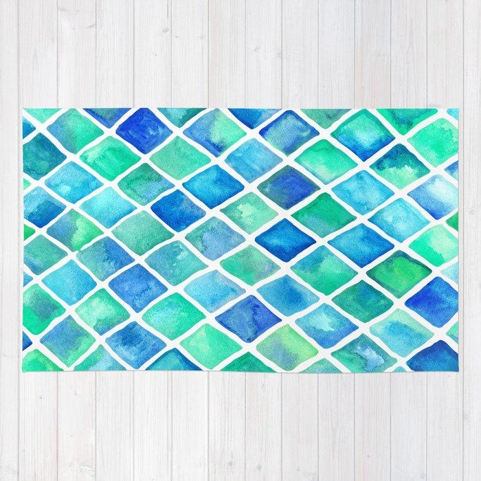 Hand Painted Cobalt Blue & Emerald Green Watercolor
