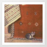 Cat On A Rug Art Print