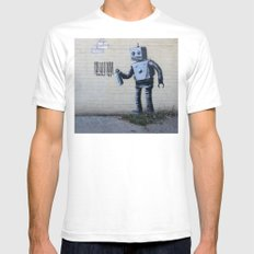 Banksy Robot (Coney Island, NYC) Mens Fitted Tee White SMALL