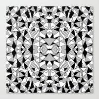 Ab Lines Tile with Black Blocks Canvas Print