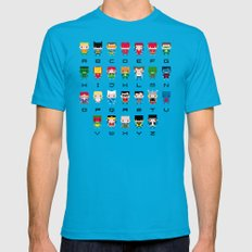 Superhero Alphabet Mens Fitted Tee Teal SMALL