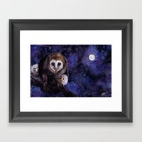 Baby Space Owls - Coffee… Framed Art Print