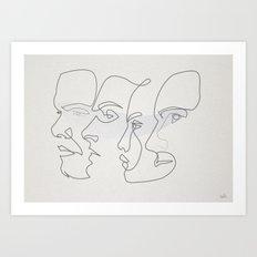 0ne line Profiles Art Print