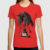 Ink Raven Womens Fitted Tee Red SMALL