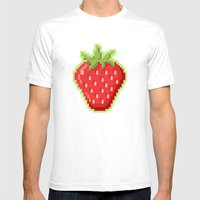Pixel Strawberry Mens Fitted Tee White SMALL