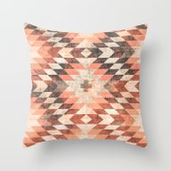 Native Coral Diamond Throw Pillow