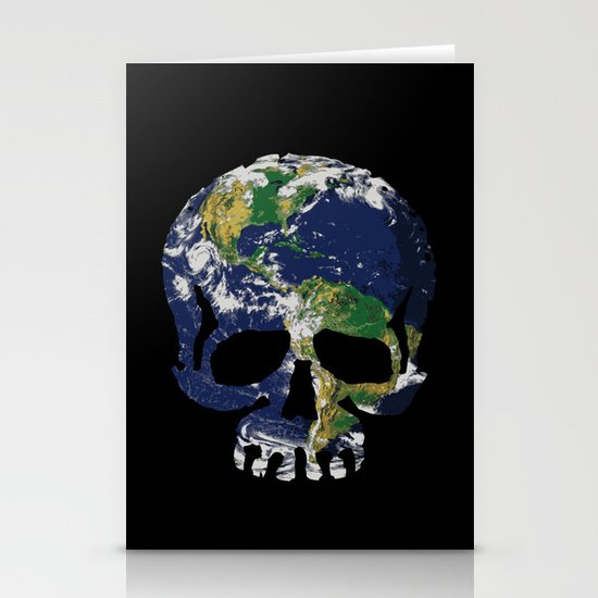 Skull Earth Stationery Card