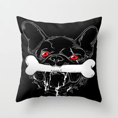 BAD-BLACK-BULLDOG-BONE Throw Pillow