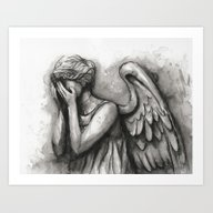 Weeping Angel Watercolor… Art Print