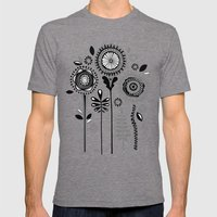 Folksy Flowerheads Mens Fitted Tee Tri-Grey SMALL