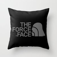 The Force Face (grey) Throw Pillow