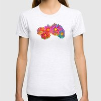 Bright Sketch Flowers Womens Fitted Tee Ash Grey SMALL