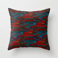 Dark Reds In Lines Of Ch… Throw Pillow
