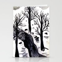 Black Crystall Frost Stationery Cards