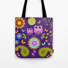 Cute Owls, Paisley shapes and Flowers Tote Bag
