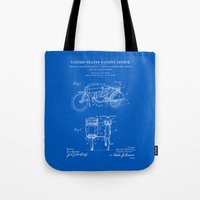 Motorcycle Sidecar Patent 1912 - Blueprint Tote Bag