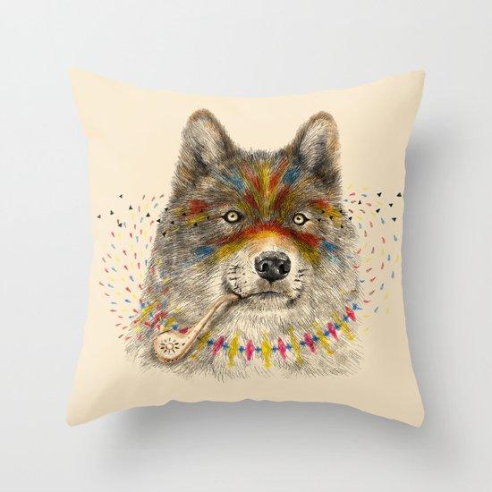 Cherokee Wolf Throw Pillow