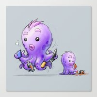Creative Furry Octopus Canvas Print