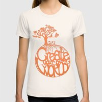 Create Your Own World Womens Fitted Tee Natural SMALL