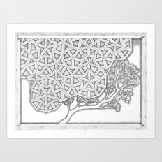 Penrose Latice with Branch Art Print