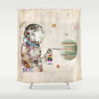 Space Graffiti Shower Curtain