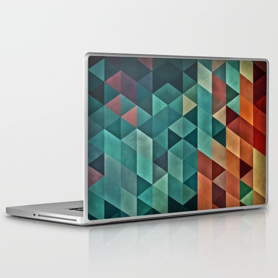 Teal/Orange Triangles Laptop & iPad Skin