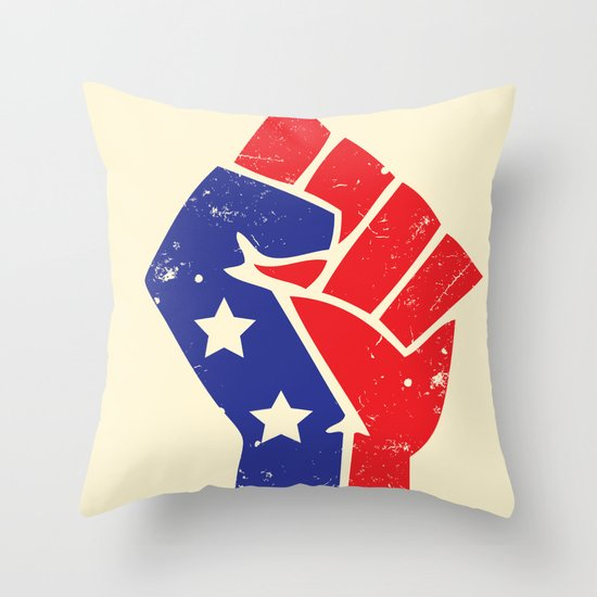 Revoltion Party Fist Throw Pillow