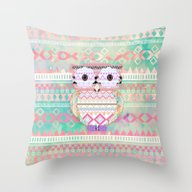 Hoot!  Whimsical Tribal … Throw Pillow