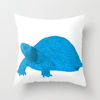 Turtle Illustration Blue Throw Pillow