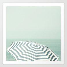 Parasol - Summer Beach Blue Stripes Photography Art Print