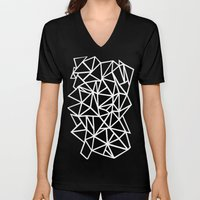 Abstract Outline Thick White on Black Unisex V-Neck