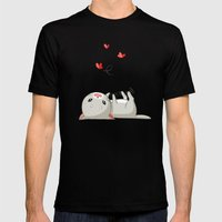 Playing Kitten Mens Fitted Tee Black SMALL