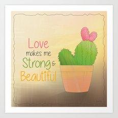 Heart Shaped Cacti Art Print
