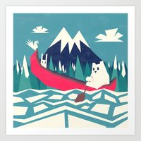 Yeti And Bunny Going On … Art Print