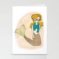 Stationery Cards featuring Hipster Mermaid by Nan Lawson