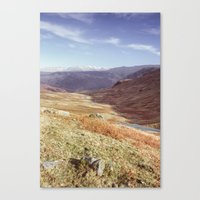 Autumnal colour on the Honister Pass. Cumbria, UK. (Shot on film). Canvas Print