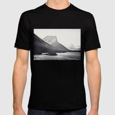 Glacier Mountain Lake Bl… Mens Fitted Tee Black SMALL