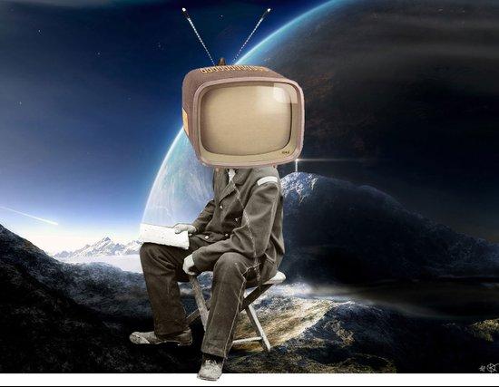 Space TV  Collage Art Print
