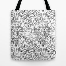 Infinity Robots Black & White Tote Bag